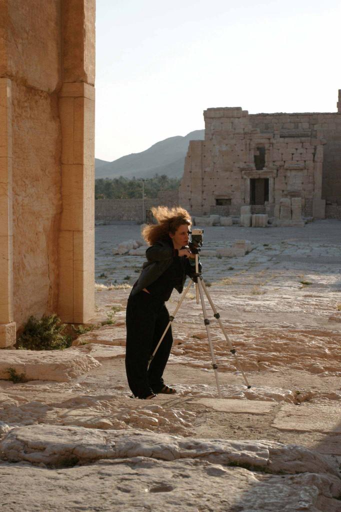 Manuela Morgaine en tournage